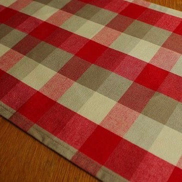 Red & Beige Buffalo check table runner