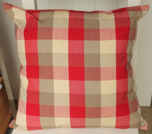 Red and Beige Checked cushion