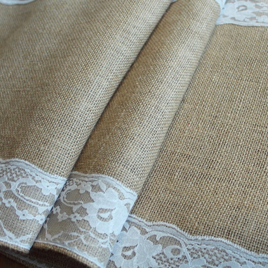 Hessian & lace table runner