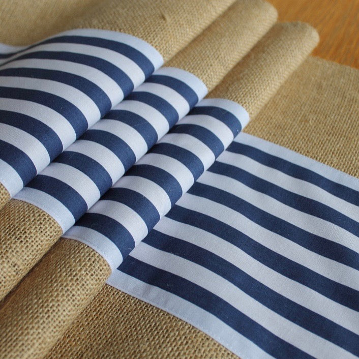 Burlap and navy and white stripe centre