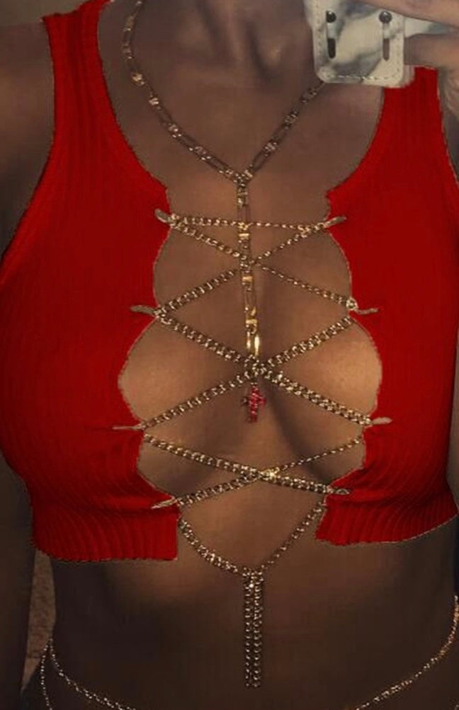 Opened Chain Top : Red