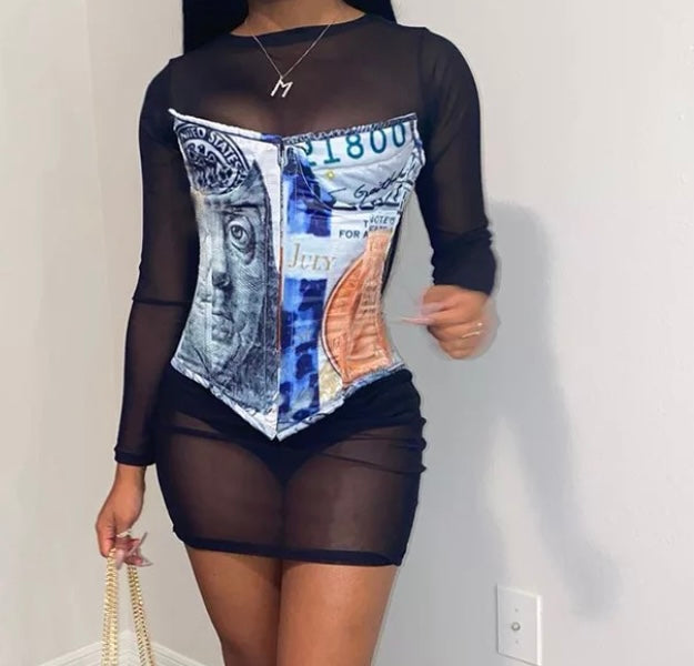 Money Print Corset(Blue)