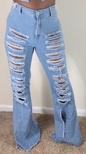 Look Back At It Jeans : Sky Blue