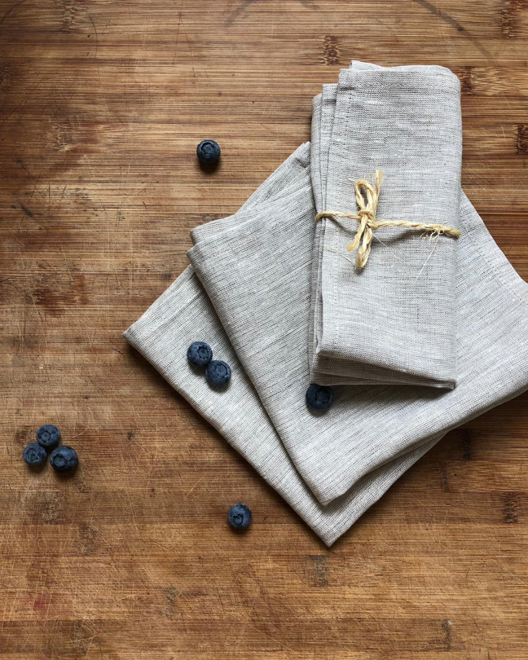 Linen napkin from natural flax colour