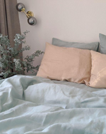 Load image into Gallery viewer, Turquoise bedding set from soft linen