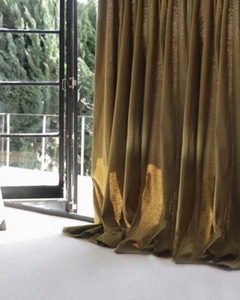 Green linen curtains, sheer drapes - 1 panel