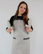Load image into Gallery viewer, Linen apron in natural flax colour