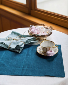 Linen table placemat in ocean blue