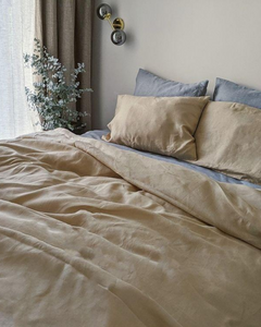 Beige linen bed set from soft linen