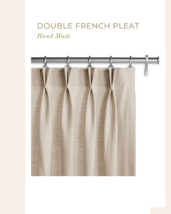 Blackout linen curtains in Natural Grey with white dots - 1 panel
