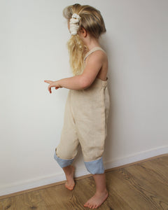 Linen pants with straps unisex in Beige