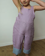 Load image into Gallery viewer, Linen pants with straps unisex in Lilac