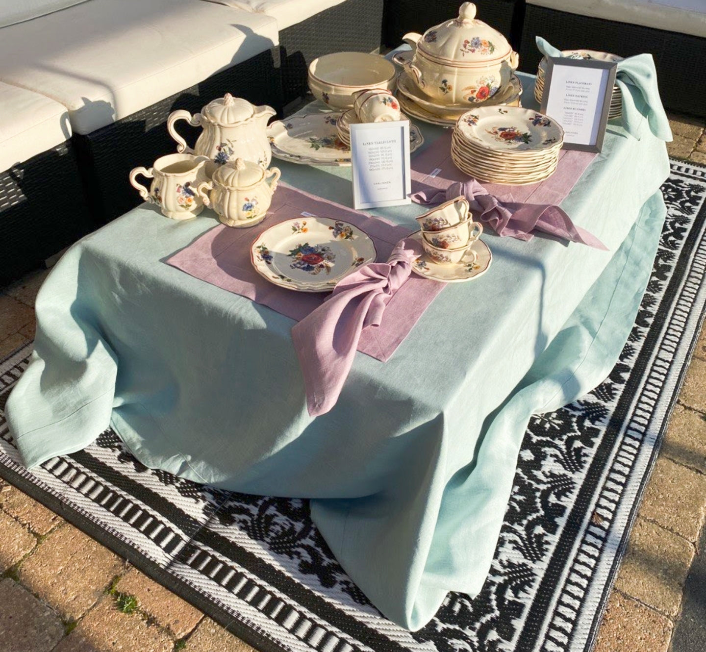Linen table placemat in lilac