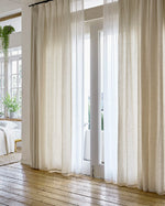 Afbeelding in Gallery-weergave laden, Ivory natural curtains, sheer drapes - 1 panel