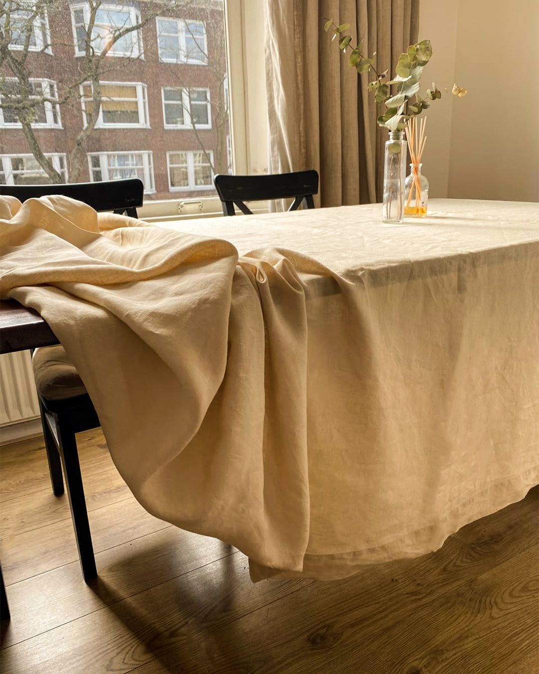 Tablecloth from soft linen in beige