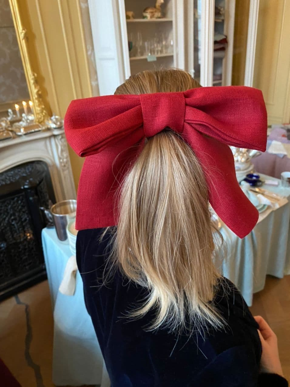 Christmas Scarlet red bow made of linen