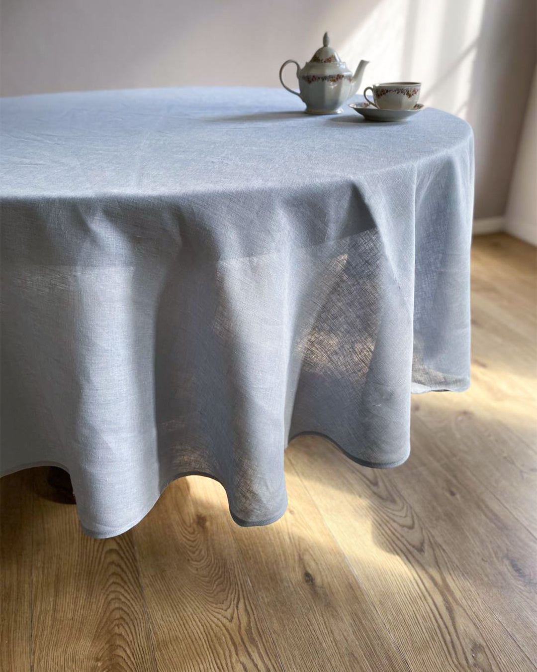 Tablecloth from soft linen in dusty blue