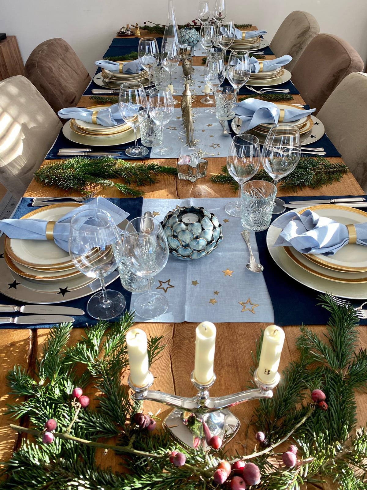 Table runner from soft linen in Dusty blue