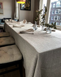 Tablecloth from rough natural linen