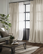 Afbeelding in Gallery-weergave laden, Natural light grey linen with white dots, thick drapes - 1 panel