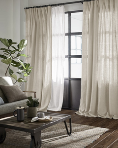 Natural light grey linen with white dots, thick drapes - 1 panel