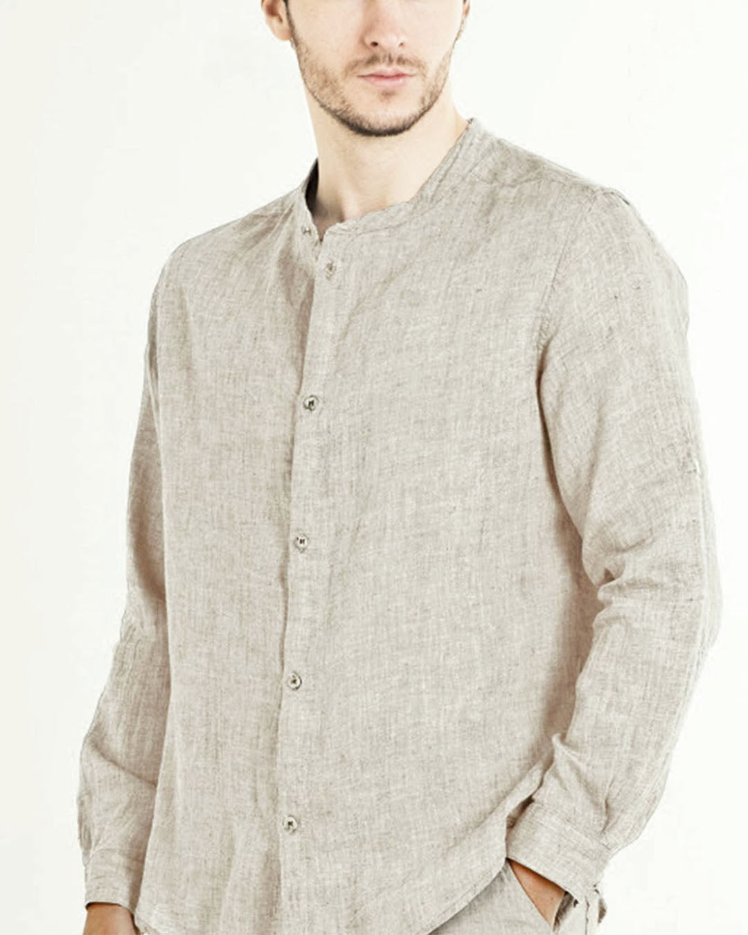 Linen shirt in natural colour with band collar