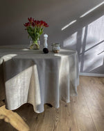 Load image into Gallery viewer, Round tablecloth from soft linen in Safari colour