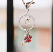 Load image into Gallery viewer, Pink Paw Personalized Keychain