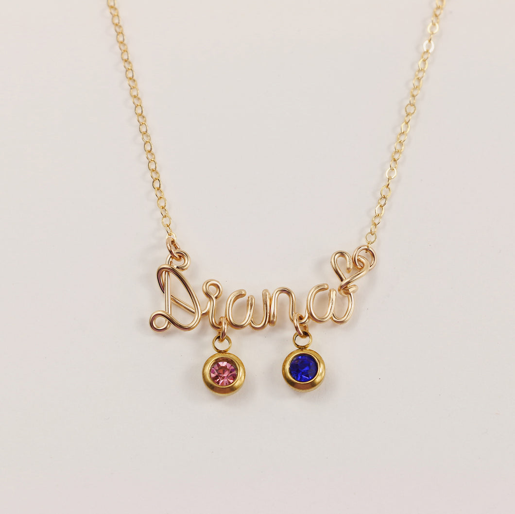 Personalized Name Necklace With Two Birthstones