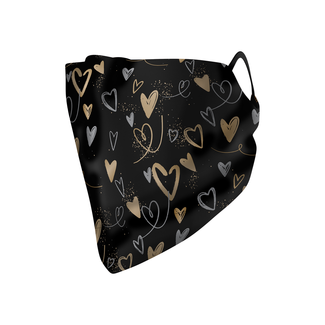 Gold Hearts Hankie Mask - Protect Styles