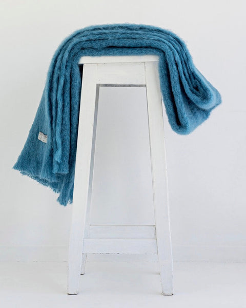 The Fantail House, Made in NZ, Windermere Mohair Throw, Blanket, Lake