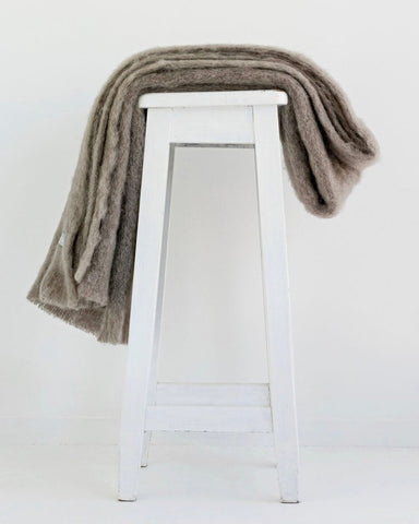 The Fantail House, Made in NZ, Windermere Mohair Throw, Blanket, Manuka