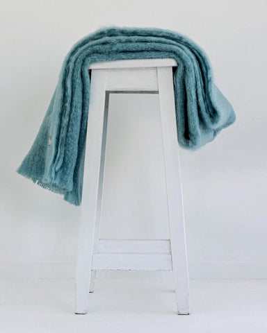 The Fantail House, Made in NZ, Windermere Mohair Throw, Blanket, Sea Spray