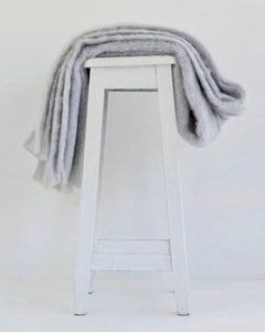 The Fantail House, Made in NZ, Windermere Mohair Throw, Blanket, Silver
