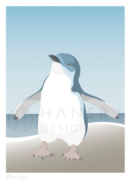 The Fantail House, NZ Made,  Cathy Hansby, Contemporary Art Prints, Seabirds, Blue Penguin