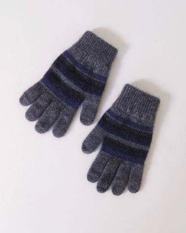 Striped Gloves, Possum Merino, Native World, NZ made, The Fantail House