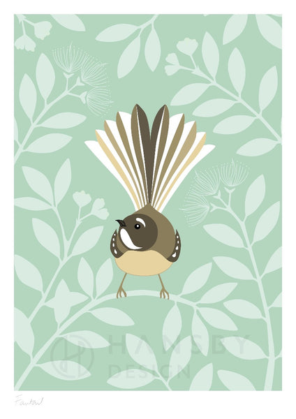 The Fantail House, New Zealand Made, Cathy Hansby, Art Prints, New Zealand Native Birds, Fantail