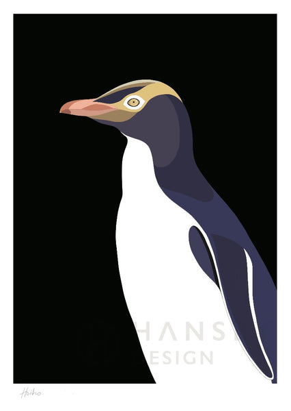 The Fantail House, NZ Made,  Cathy Hansby, Contemporary Art Prints, Seabirds, Yellow Eyed Penguin