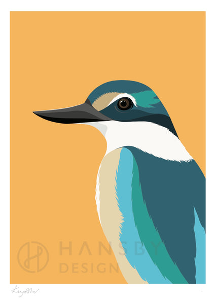 The Fantail House, New Zealand Made, Cathy Hansby, Art Prints, New Zealand Native Birds, Kingfisher