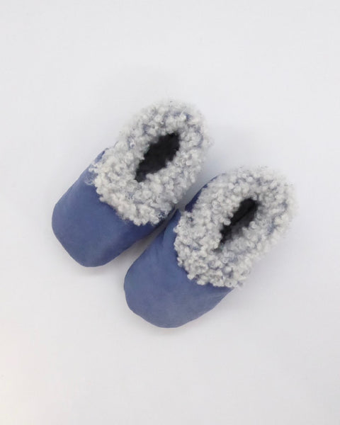 The Fantail House, Made in NZ, Lambskin Booties, Cornflower Blue, 0-3 months