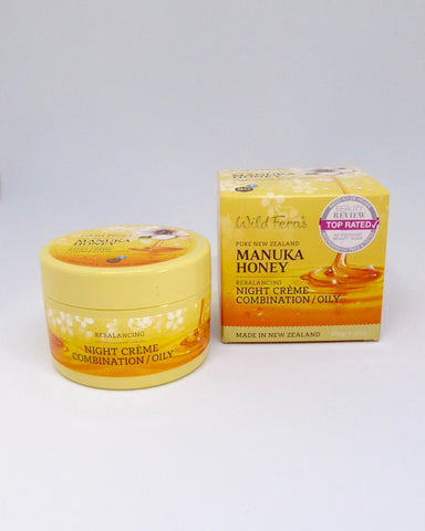 The Fantail House, made in New Zealand, Wild Ferns, Manuka Honey Night Moisturiser Combination Oily Skin