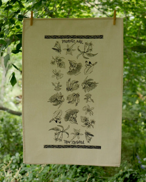 The Fantail House, Made in NZ, Tea Towels, Cotton, NZ Flora