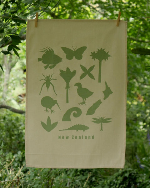 The Fantail House, Made in NZ, Tea Towels, Cotton, Green