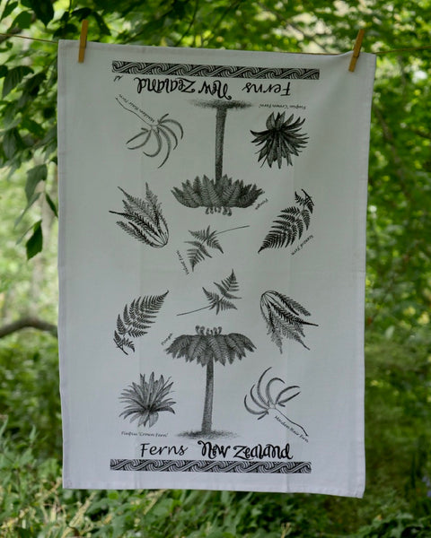The Fantail House, Made in NZ, Tea Towels, Cotton,  NZ Ferns
