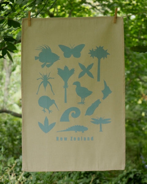 The Fantail House, Made in NZ, Tea Towels, Cotton, Blue bright