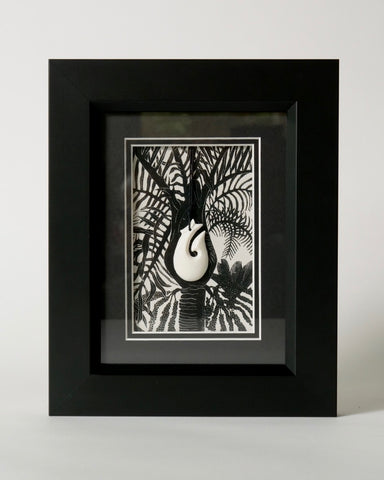 The Fantail House, Made in NZ, Art Print, Framed, Nikau, Bone Carving, Fish Hook,