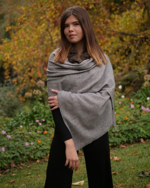 The Fantail House, Made in New Zealand, Possum Merino, Womens knitwear, Wrap, Cape