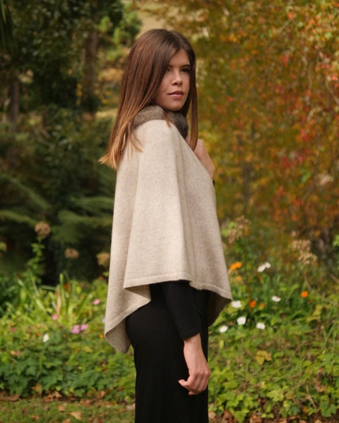 The Fantail House, Made in New Zealand, Native World, Pure Possum Trimmed Poncho, Possum Merino,  Possum Fur,  Natural
