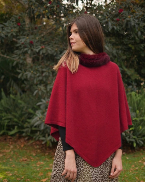 The Fantail House, Made in New Zealand, Native World, Pure Possum Trimmed Poncho, Possum Merino,  Possum Fur,  Berry