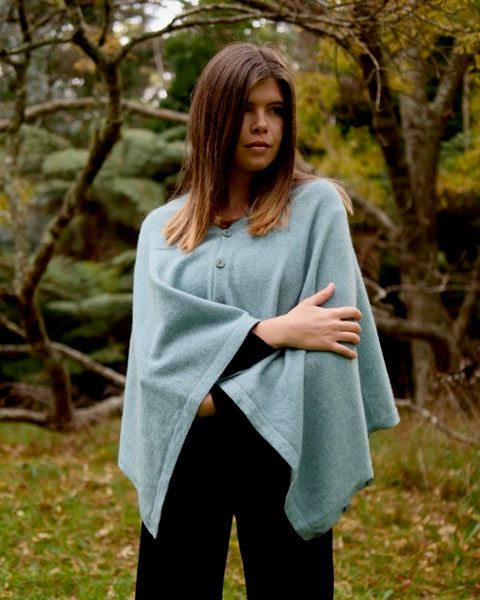 The Fantail House, Native World, Made in New Zealand, Possum Merino, Anyway Wrap, Womens, Topaz